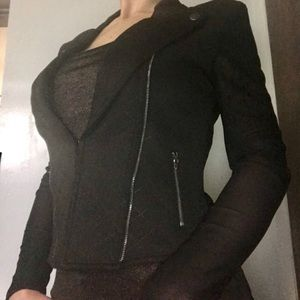 NEW Material Girl Black Blazer Sheer Mesh Back L M
